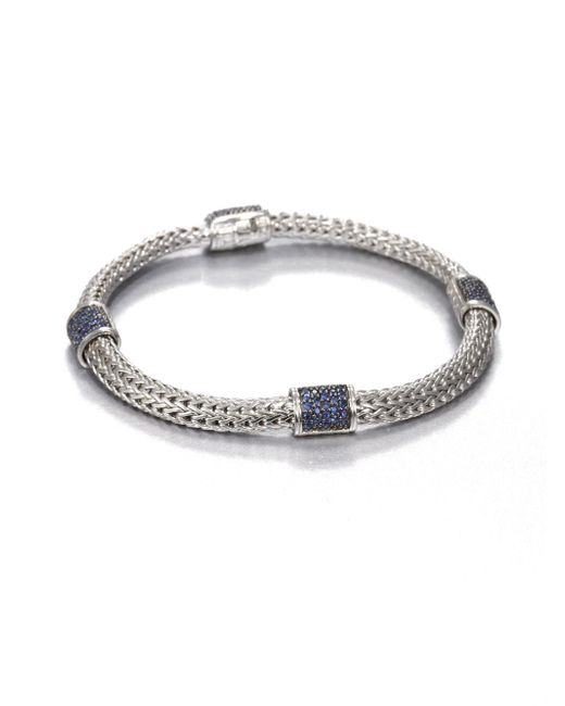 John Hardy | Metallic Classic Chain Sapphire & Sterling Silver Four-station Bracelet | Lyst