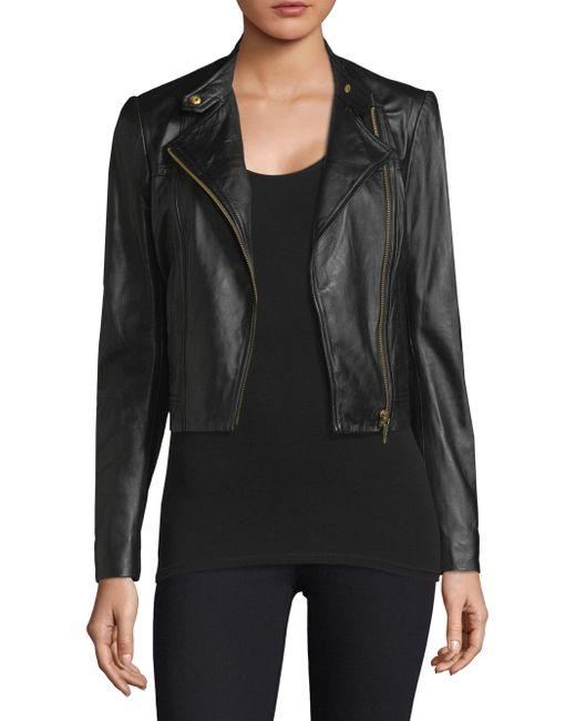 MICHAEL Michael Kors - Black Cropped Leather Jacket - Lyst