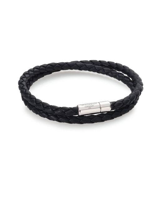 Tateossian - Black Scoubidou Leather & Sterling Silver Braided Double-wrap Bracelet for Men - Lyst