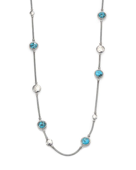 John Hardy | Metallic Palu Turquoise & Sterling Silver Matrix Sautior Necklace | Lyst