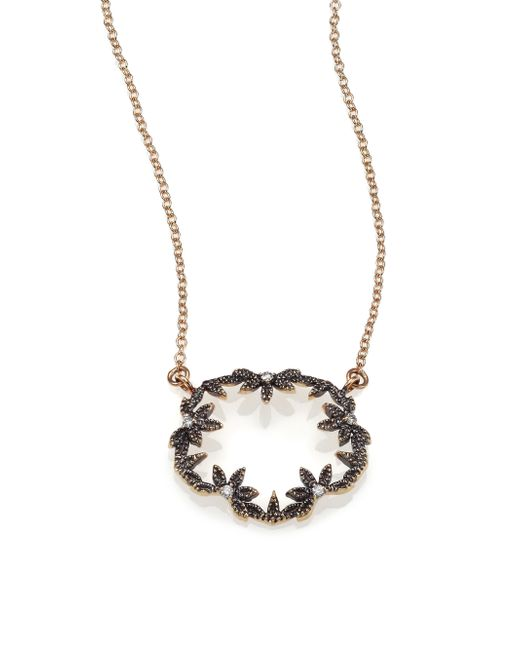Mizuki | Diamond & 14k Blackened Gold Small Open Petal Necklace | Lyst