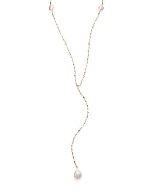 Mizuki   Metallic 15mm White Baroque Freshwater Pearl, Diamond & 14k Yellow Gold V Necklace   Lyst