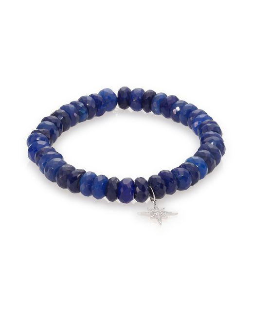Sydney Evan | Diamond, Dark Blue Chalcedony & 14k White Gold Starburst Beaded Stretch Bracelet | Lyst