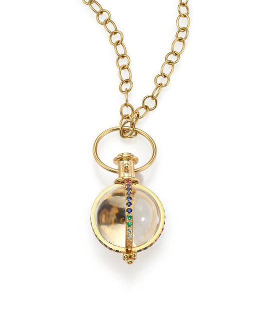 Temple St. Clair | Metallic Celestial Rock Crystal, Multicolor Sapphire, Diamond & 18k Yellow Gold Classic Amulet | Lyst