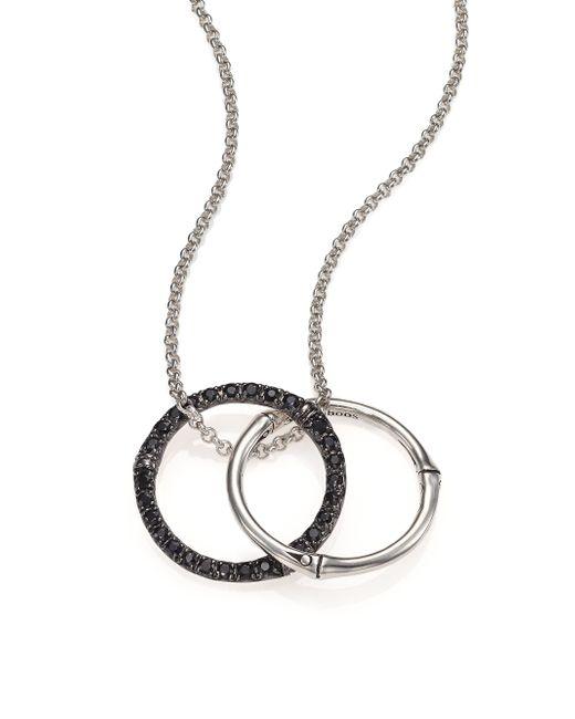 John Hardy | Metallic Bamboo Black Sapphire & Sterling Silver Medium Round Pendant Necklace | Lyst