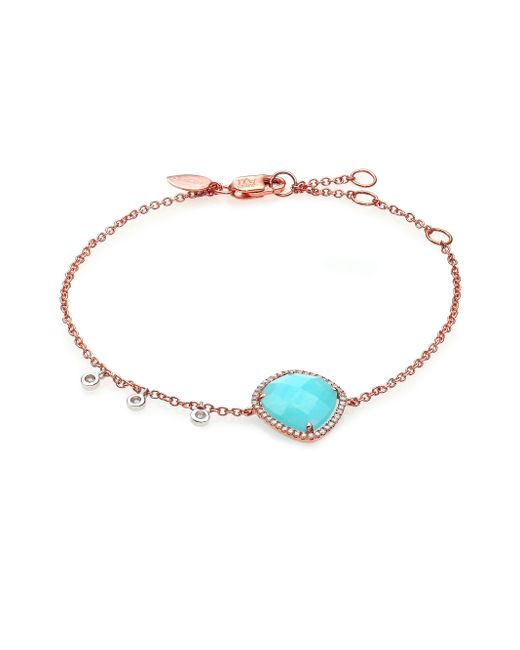 Meira T | Pink Blue Amazonite, Diamond & 14k Rose Gold Bracelet | Lyst