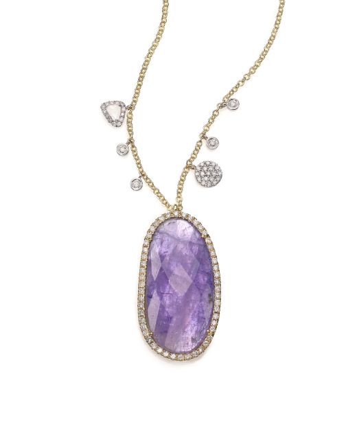 Meira T | Purple Tanazanite, Mother-of-pearl, Diamond & 14k Yellow Gold Doublet Pendant Necklace | Lyst