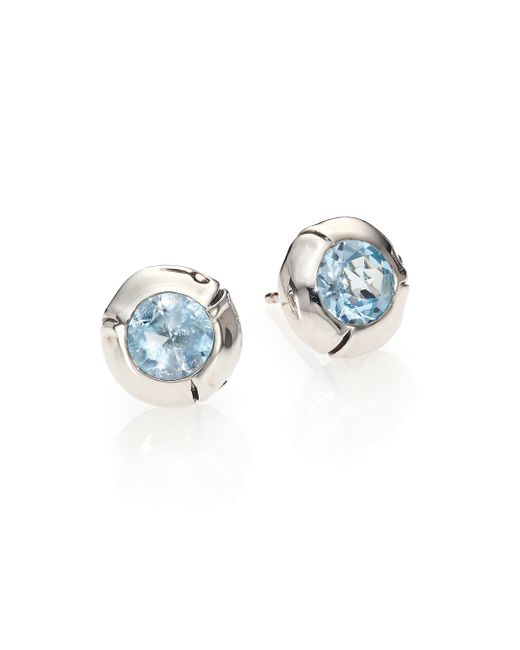 John Hardy | Blue Bamboo Sterling Silver Stud Earrings | Lyst