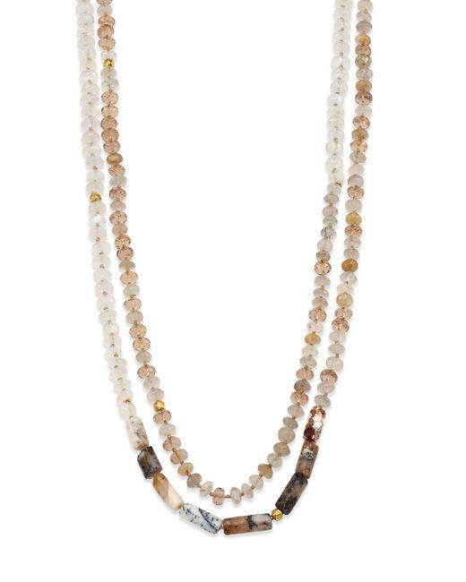 Lena Skadegard   Multicolor Champagne Citrine, Rutilated Quartz, Moonstone, Peruvian Opal & 18k Yellow Gold Beaded Strand Ne   Lyst