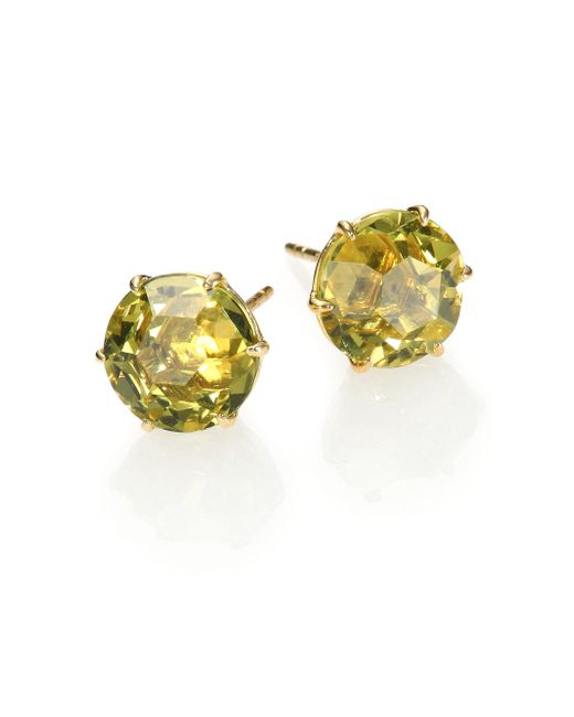 Ippolita | Metallic Rock Candy Green-gold Citrine & 18k Yellow Gold Stud Earrings | Lyst