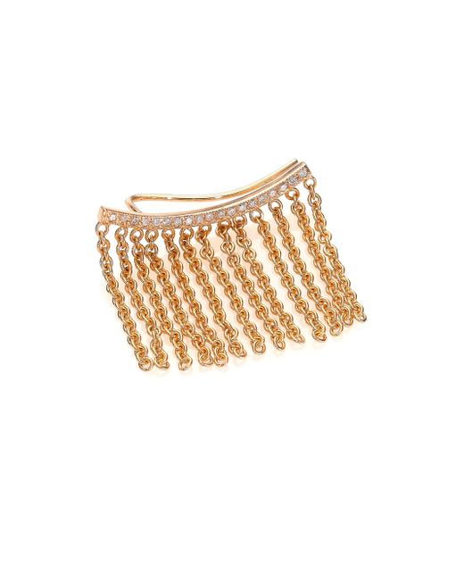 Zoe Chicco | Metallic Diamond & 14k Yellow Gold Curved Bar Fringe Single Ear Crawler | Lyst
