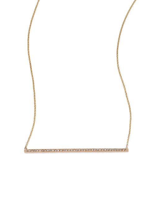 Zoe Chicco   Metallic Diamond & 14k Yellow Gold Long Horizontal Bar Necklace   Lyst