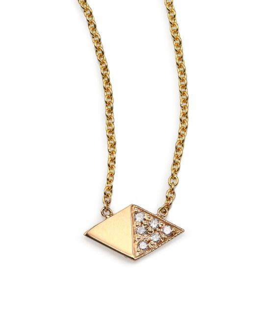 Zoe Chicco | Metallic Diamond & 14k Yellow Gold Double Triangle Necklace | Lyst