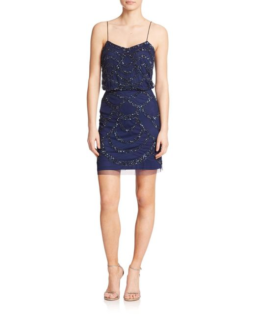 Aidan Mattox | Blue Sequined Blouson Bridesmaid Dress | Lyst