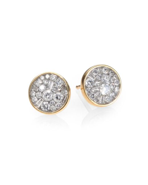 Plevé | Metallic Ice Diamond & 18k Yellow Gold Stud Earrings | Lyst
