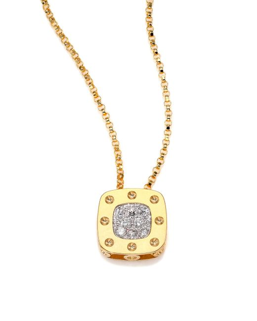 Roberto Coin | Metallic Pois Moi Diamond & 18k Yellow Gold Small Pendant Necklace | Lyst