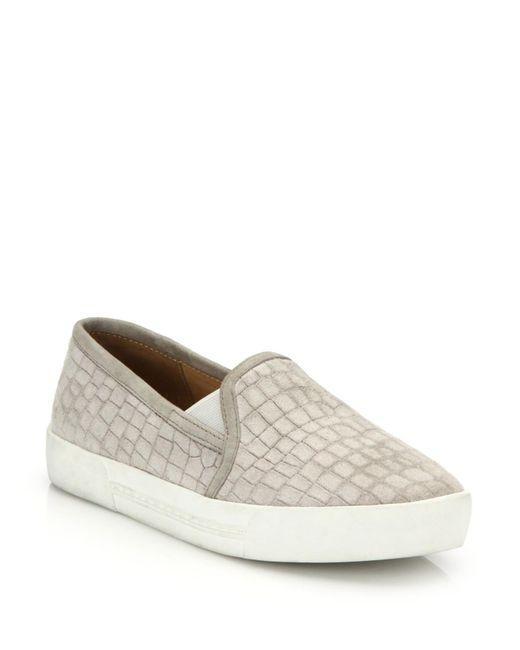 Joie | Natural Huxley Croc-embossed Suede Skate Sneakers | Lyst