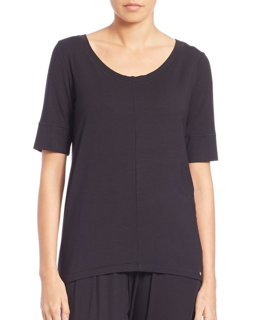 Hanro | Black Micromodal Yoga Top | Lyst
