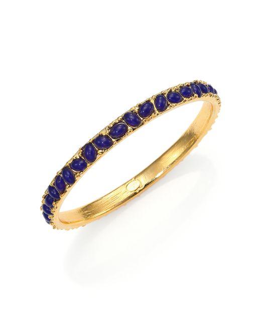 Kenneth Jay Lane   Blue Cabochon Cluster Thin Bangle Bracelet   Lyst