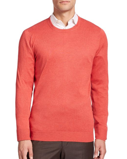 Saks Fifth Avenue | Pink Silk-blend Crewneck Sweater for Men | Lyst