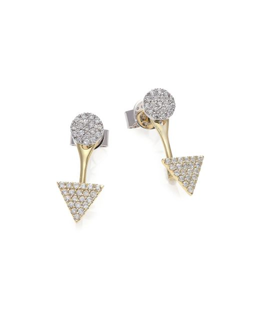 Meira T | Metallic Diamond, 14k White & Yellow Gold Ear Jacket & Stud Earrings Set | Lyst