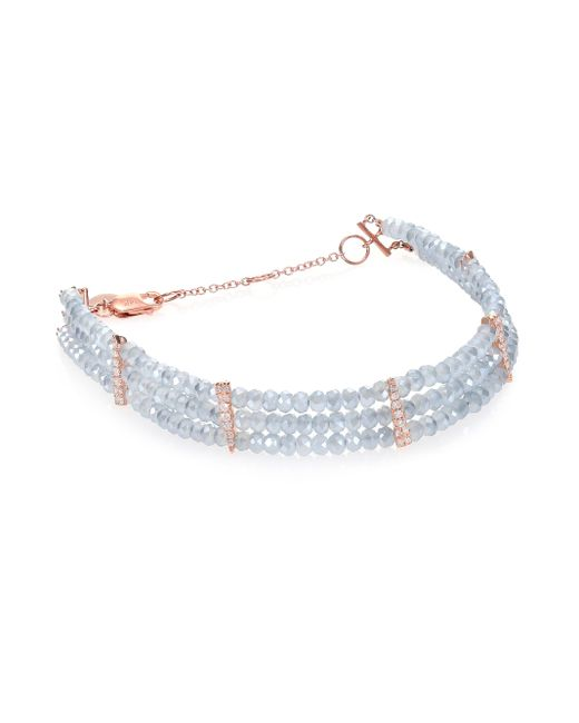 Meira T | Pink Mystic Quartz, Diamond & 14k Rose Gold Three-row Beaded Bracelet | Lyst