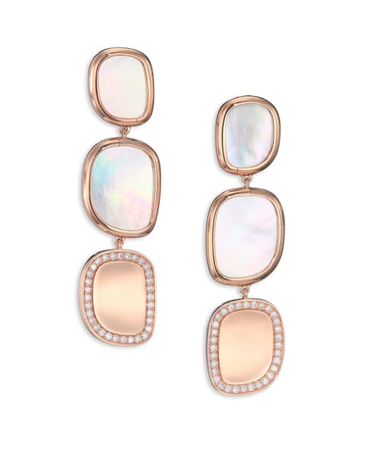 Roberto Coin | Pink Mother-of-pearl, Diamond & 18k Rose Gold Drop Earrings | Lyst