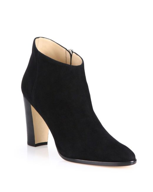 Manolo Blahnik | Black Brusta Suede Booties | Lyst