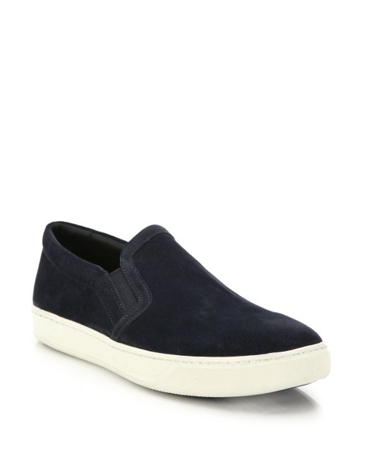 VINCE | Black Baron Suede Slip-on Sneakers for Men | Lyst