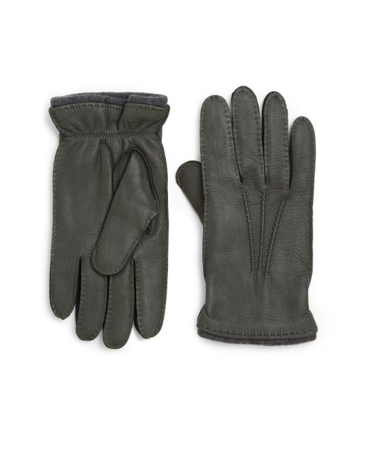 Saks Fifth Avenue | Green Deerskin Leather Gloves for Men | Lyst