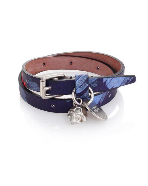 Alexander McQueen | Blue Double Wrap Leather Bracelet for Men | Lyst