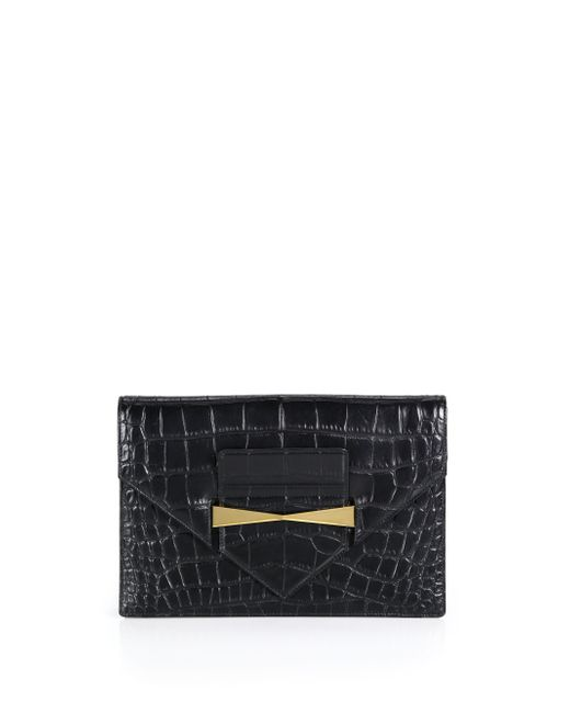 Alexander McQueen | Black Crocodile-embossed Envelope Clutch | Lyst