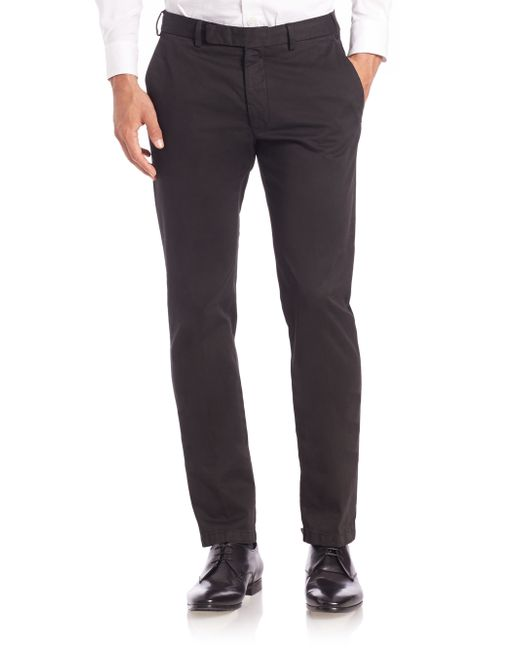 Armani | Black Cotton Chino Pants for Men | Lyst