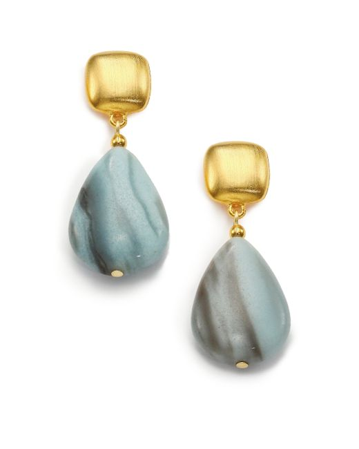 Kenneth Jay Lane | Blue Beaded Teardrop Earrings | Lyst