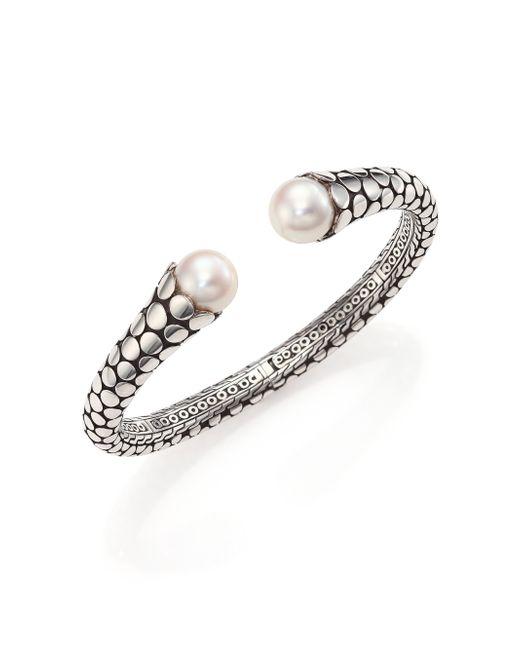 John Hardy | Metallic Dot 11mm White Pearl & Sterling Silver Cuff Bracelet | Lyst