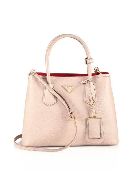 Prada | Natural Saffiano Cuir Small Double Bag | Lyst