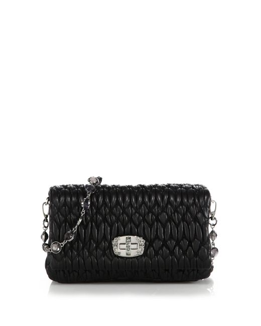Miu Miu | Black Nappa Crystal Embellished Leather Shoulder Bag | Lyst