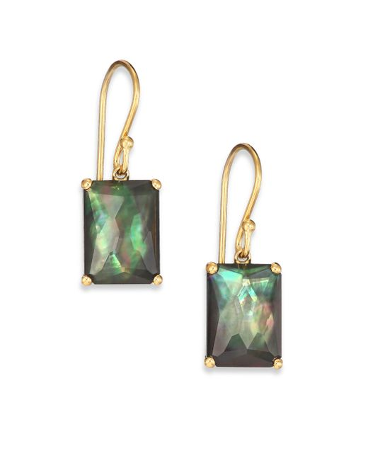 Ippolita | Green Gelato Black Shell, Clear Quartz & 18k Yellow Gold Rectangle Doublet Drop Earrings | Lyst