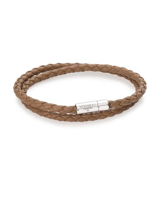 Tateossian | Brown Scoubidou Leather & Sterling Silver Braided Double-wrap Bracelet for Men | Lyst