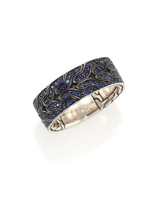 John Hardy | Classic Chain Blue Sapphire & Sterling Silver Band Ring for Men | Lyst