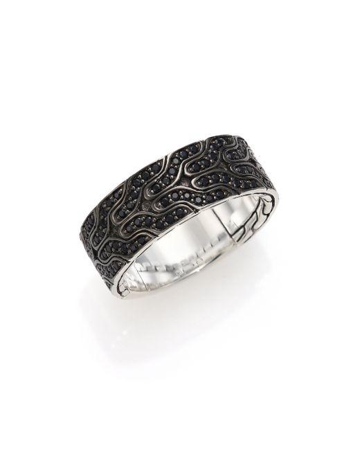 John Hardy | Black Silver Lava Ring | Lyst