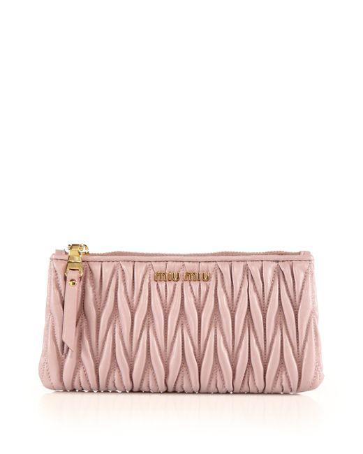 Miu Miu | Pink Matelasse Leather Zip Pouch | Lyst