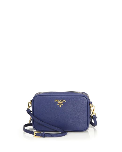 Prada | Blue Saffiano Leather Camera Bag | Lyst