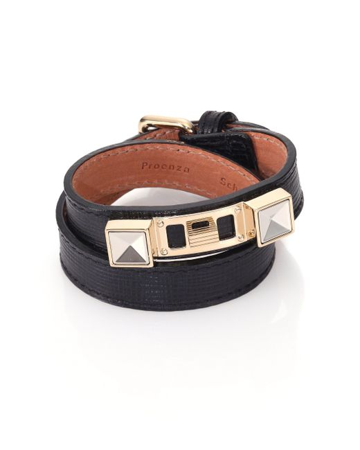 Proenza Schouler | Black Ps11 Linosa Leather Double-wrap Bracelet | Lyst