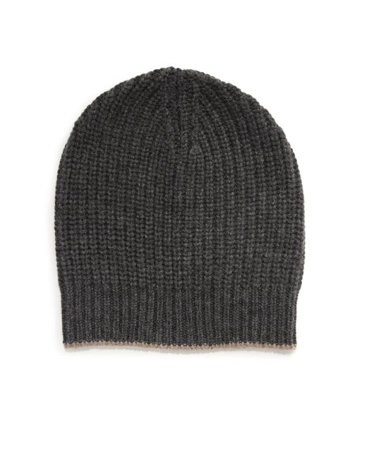 Brunello Cucinelli | Gray Ribbed Cashmere Beanie for Men | Lyst