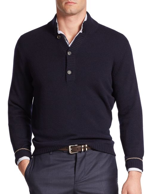 Brunello Cucinelli | Black Splitneck Cashmere Sweater for Men | Lyst