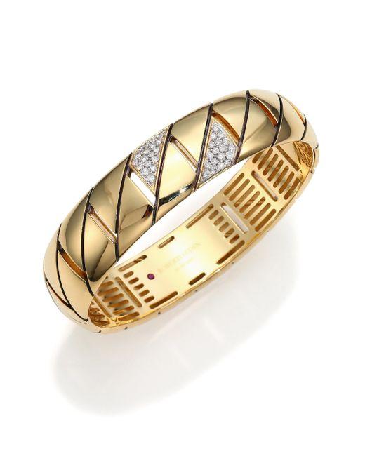 Roberto Coin | Metallic Appassionata Diamond & 18k Yellow Gold Bangle Bracelet | Lyst