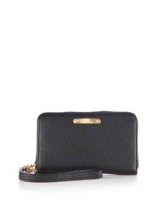 Gigi New York   Black Pebbled Leather Phone Wristlet   Lyst