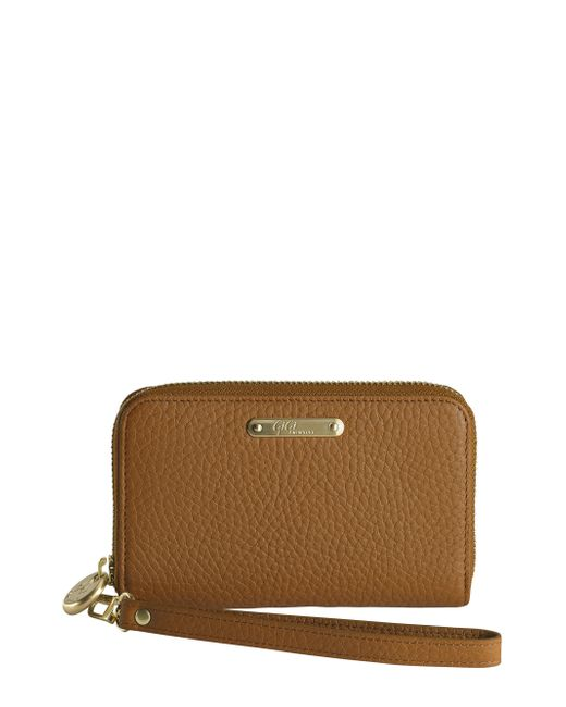 Gigi New York | Brown Pebbled Leather Phone Wristlet | Lyst