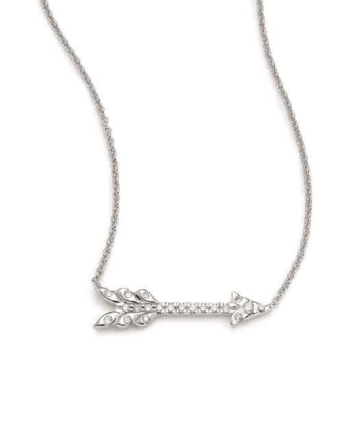 Roberto Coin | Metallic Tiny Treasures Diamond & 18k White Gold Arrow Necklace | Lyst